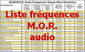 Liste fréquences MOR audio Pt
